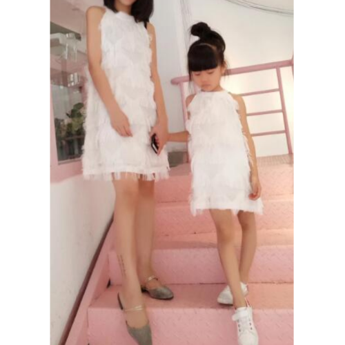 Mother Daughter Dresses Summer Sleeveless Tassel Mommy and Me Dress Family Matching Clothes Family Look Mom and Daughte Dress
