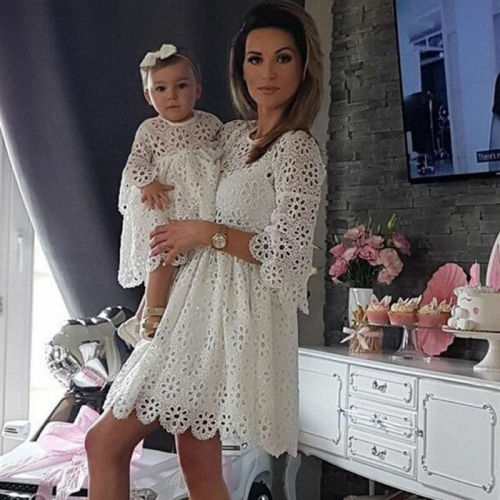 Fashion Family Matching Clothes Mother Daughter Dresses White Hollow  Floral Lace Dress Mini Dress Mom Baby Girl Party Clothes