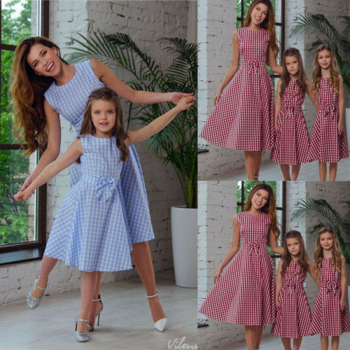 Family Mother And Daughter Matching Dress Sleeveless Summer Plaid Bowknot Dresses Sundress Outfits Clothing