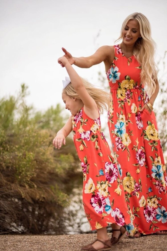 Mother Daughter Matching Clothes Summer Dress Mother And Kids Casual Long Dress Matching Mom Girl Family Clothes Outfits Dresses