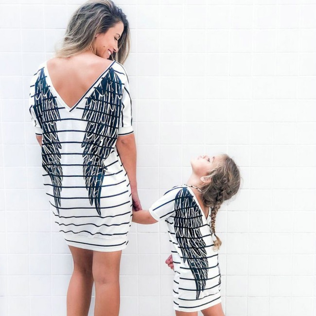2021 Mother Daughter Short Sleeve Striped Dress Summer Family Matching Outfits Wings Dresses Mommy And Me Baby Girls Clothes