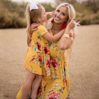 Summer Mom And Daughter Dress Floral Family Look Mother Daughter Dresses Mommy And Me Clothes Family Matching Clothes Outfits