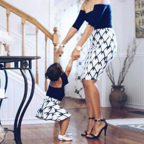 2021 Parent-Child Dress Mother Girl Off-Shoulder Printed Dress One-Shoulder Women'S Clothing