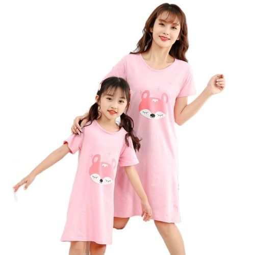 2021 high quality Woman Cotton short sleeve stripped Casual Nightdress Girl's skirt