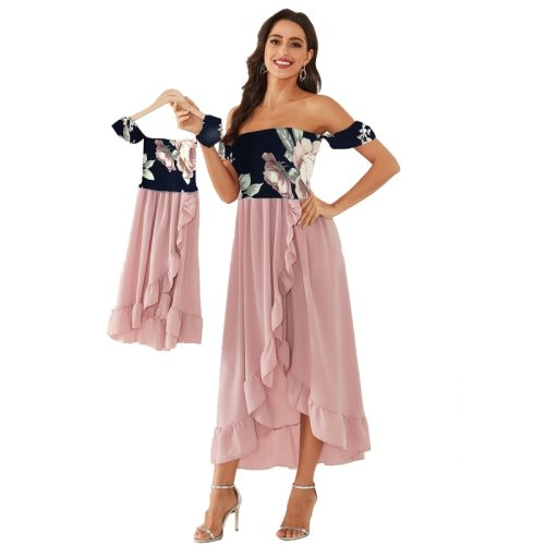 Mother Daughter Dresses Summer New Fashion Matching Off Shoulder Mom And Daughter Matching Clothes Teen Girls Dress Clothing