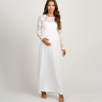 Sexy Lace Dresses for Pregnant Women Tulle Maternity Dress Long Sleeve Premama Long Dress for Photo Shoot White Wedding Outfits
