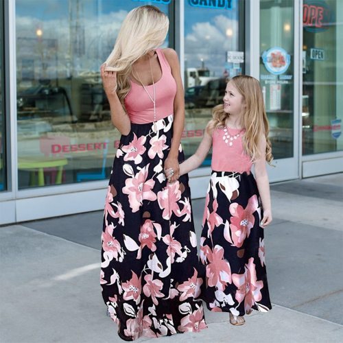 Casual Sleeveless Dress for Mother and Daughter Big Flower Women Long Dresses Family Match Wear Little Girls Birthday Party Look