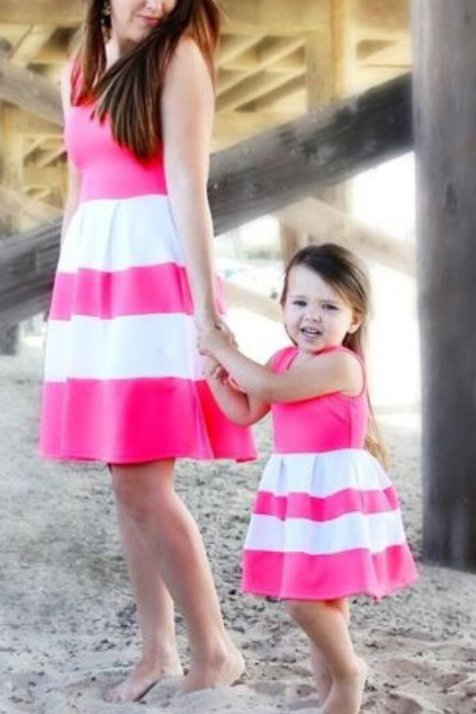 Mommy and me family matching mother daughter striped patchwork dresses mom and daughter dress kids parent child outfits clothes