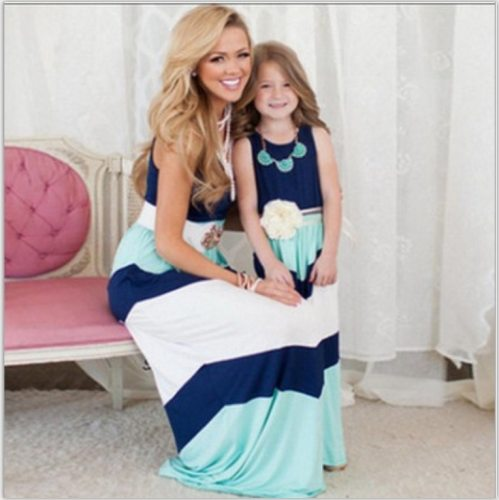 2021 Mother Daughter Dress Family Matching Clothes Striped Mom And Daughter Dress Family Look Outfits Kids Parent Child Outfits