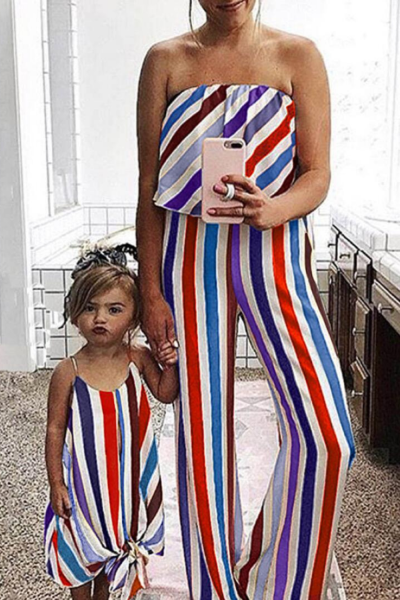 Family Mommy And Me Clothes Girls Dress Stripe Sleeveless Bandeau Rompers Mother Daughter Dresses Family Clothes Dress Lady's