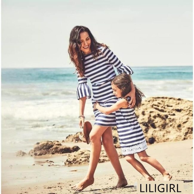Family Matching Clothes Striped Lace Sleeve Long Sleeve Dress Mommy And Daughter Dress Family Look Clothes Mom And Me Outfits