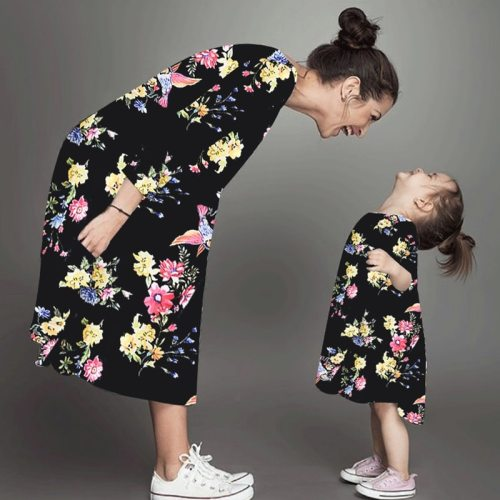 Summer Mommy and Me Family Matching Mother Daughter Dresses Clothes Floral Mom Dress Kids Child Outfits Mum Big Sister Baby Girl
