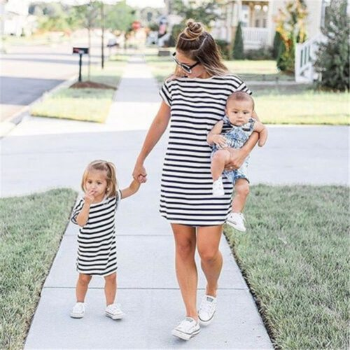 Summer New Family Clothing Matching Mother And Daughter Clothes Striped Dresses Short Sleeve Outfits Casual Dress new