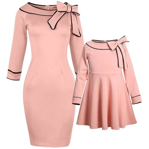 2021 Mother And Daughter Bow Pink Dress Family Matching Outfits Clothes Half Sleeve Princess Dress For Mommy And Me Baby Girls