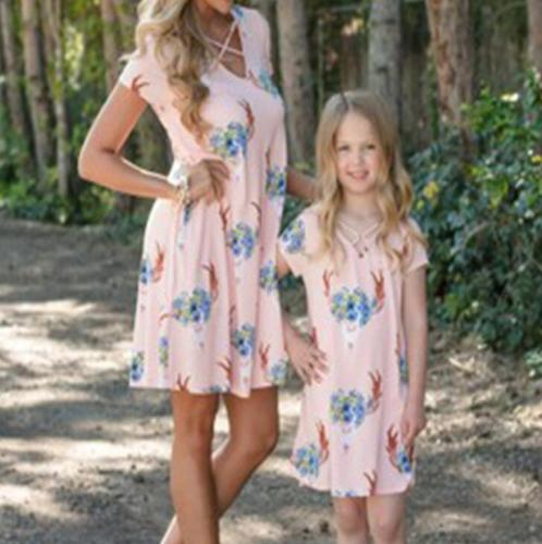 Floral Patchwork Family Dress Summer Sleeveless Mother Daughter Dresses Mom Girls Parent-Child Matching Dress Family Outfits
