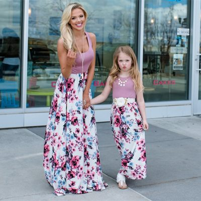 Women Girls Patchwork Family Dress Sleeveless O Neck Long Dress Family Look Matching Outfits Mommy and Me Clothes Maxi Vestidos