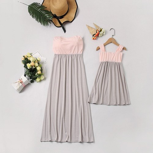 2021 Summer New Sleeveless Tube Top Halter Mother Daughter Parent-Child Wear Girl's Solid Color Stitching Dress For 3-8 Years