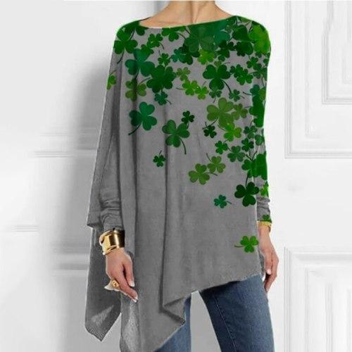 2021 Spring Plus Size Lucky Clover Long Sleeve Women Blouse Batwing Sleeves Blusas Slash Neck Irregular Vintage Shirts Tops