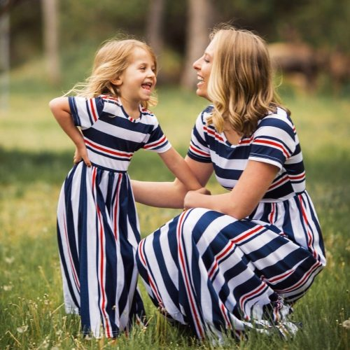 New Mom And Daughter Dress Girl Big Sister Family Look Matching Clothes Mother Kids Short Sleeve Striped Mother Daughter Dresses
