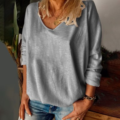 Plus Size Fashion Solid Basic Blouse Shirt V-Neck Tops Casual Autumn Winter Tops Ladies Female Women Long Sleeve Blusas Pullover