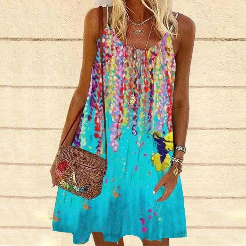 Summer Boho Beach Dress Women's Harajuku Print Sleeveless Spaghetti Strap Dress Summer Casaul A-line Mini Sundress Платье