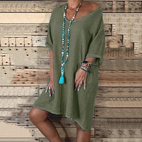 Stylish Bar Summer Cotton Linen Dress Plus Size 5xl Women Short Sleeve Shirt Dress Female Boho Vintage Casual Sundress Vestidos