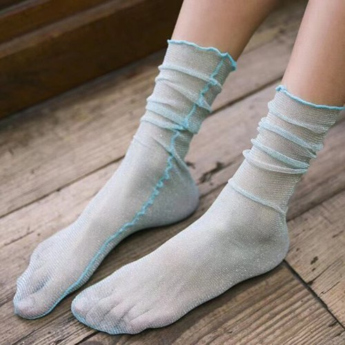 New Arrival Fashion Sexy Charming Thin Light Gold Silver Stockings Transparent Candy Color Stocking For Female Ladies