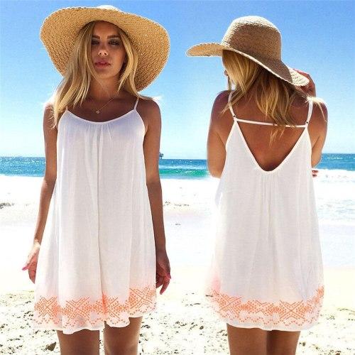 Women Backless Short Summer BOHO Evening Party Beach Mini Dress O-Neck Sleeveless Printed Sundress Gift T529