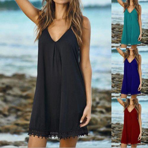 New Women's Summer Chiffon Sling V-Neck Large Swing Ladies Dress Fashion Casual Loose Dress