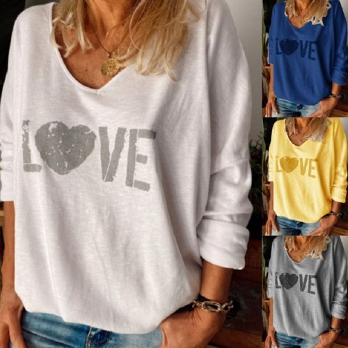 Love Letter Printed T-shirts Women V-neck Plus Size Long Sleeves Fashion Loose T Shirt Camisetas De Mujer Casual Female Tops
