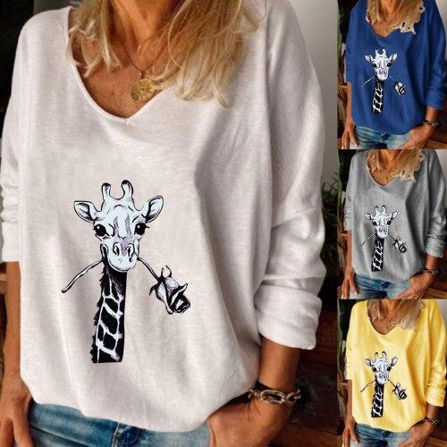 Fashion Giraffe Funny Print Blouse Shirt Loose V-Neck Tops Tee Casual Winter Ladies Female Women Long Sleeve Blusas Pullover