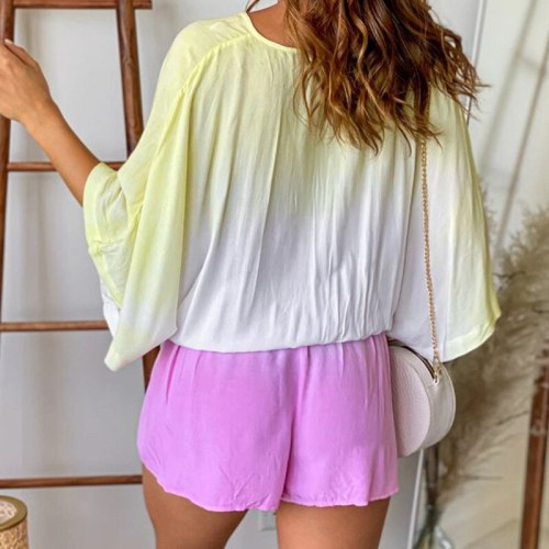 A Buckle V-neck Can Tighten The Lace 2021 Summer New Women Fashion Tie-dye Gradient Casual Loose Color Matching Jumpsuit Women