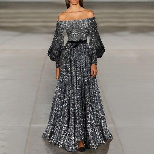 2021 New Women Dress Sexy Off Shoulder Long Sleeve Shiny floor length Party Maxi Dress Summer Vintage Evening Vestidos Femme