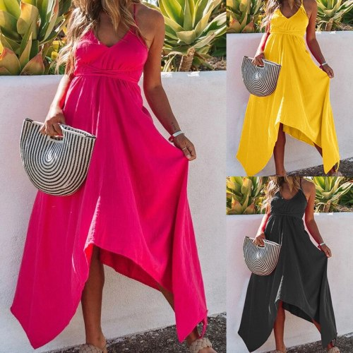 European American Women's Clothing 2021 Summer New Solid Color V-neck Halter Lace Irregular Sling Dress Women Yellow Dress