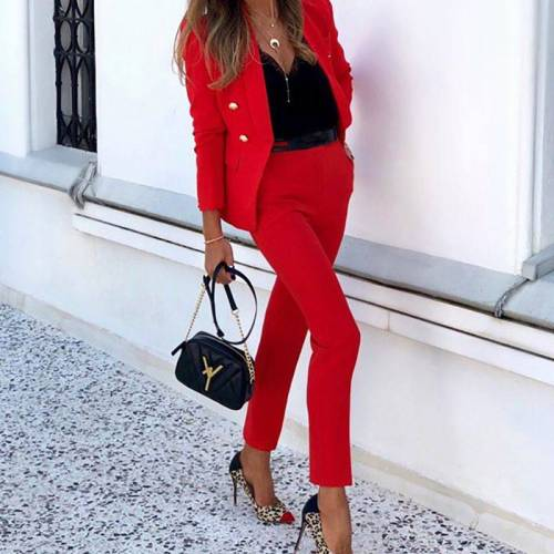 Autumn New Female Suit Professional Work Clothes Ladies Solid Color Two-Piece Casual Suit