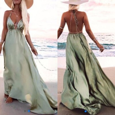 2021 Summer Women Long Slip Dress Spaghetti Strap Sexy Backless Satin Green Maxi Party Dress