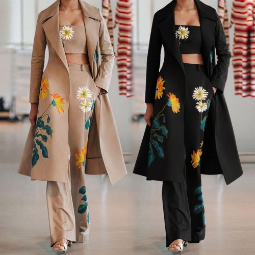 2021 Womens Vintage Printed Set Trench Coat with Crop Tank and Long Pants Flower Print 3 Piece Sets Fashion Women Sets Clothes
