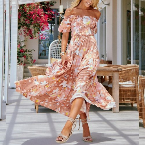 Sexy Chiffon Dress for Mature Women Floral Off the shoulder Short Sleeve Party Mid-Length Dress Summer New Women's Clothing