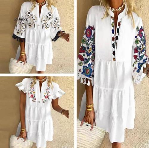 Bohemian Floral Printed Beach Dress Women Sexy Ruffle Sleeve Boho Short Dresses Vestidos Casual Loose V-Neck Summer Sundress New
