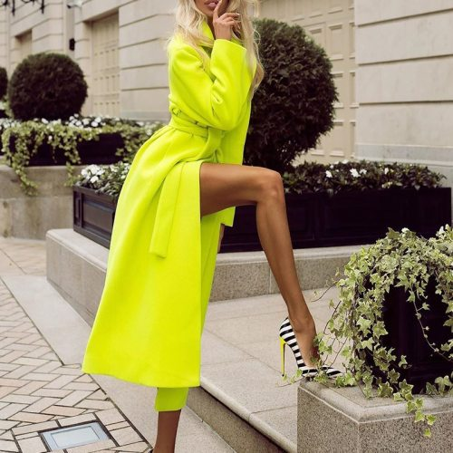 Women's Autumn Coat Casual Slim Long Cardigan Coat Neon Green Autumn Winter Wool Blend Jacket Elegant Belt Blend Outwear