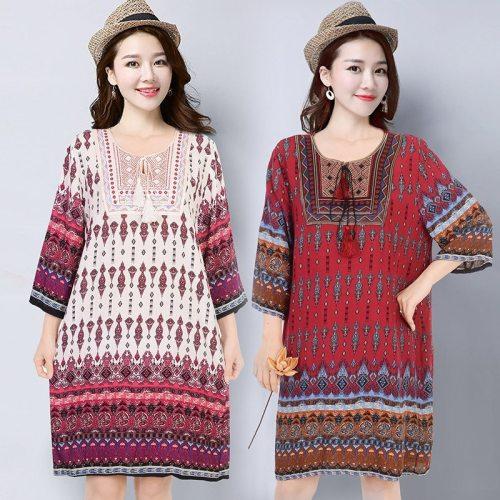2021 BLue Dress Women Vintage Embroidery Elegant Dress Loose Summer Beach Dress Casual Plus Size Vestidos Dresses Party