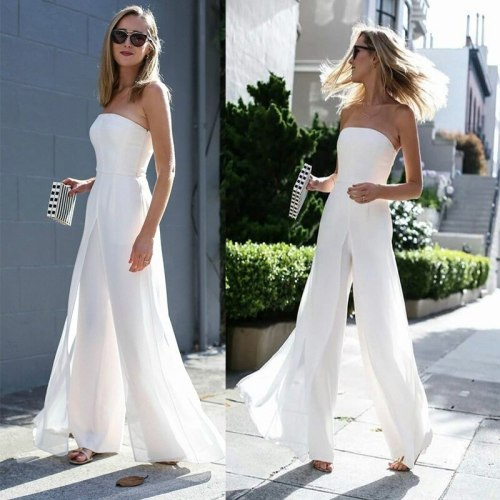 2021 Spring High-end Chiffon Sexy Joker Solid Elegant European and American Women's High Waist Wide Leg Jumpsuits
