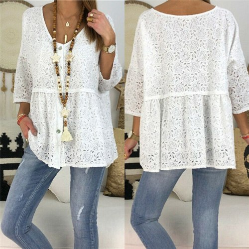 Lace Floral Blouse Hot Summer 2021 New Clothes Women Ladies Fashion Loose Hollow Out Casual Holiday Pullover White Black Top XXL