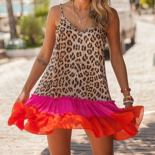New Design Good Quality Factory Price Fashion Hot Selling Women's Sexy Printed Leopard Print Stitching Strap Dress