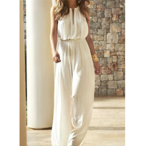 Elegant Solid Colors White Jumpsuit Summer Women Sleeveless High Waist Loose Trousers Wedding Party Style Casual Commute Pants