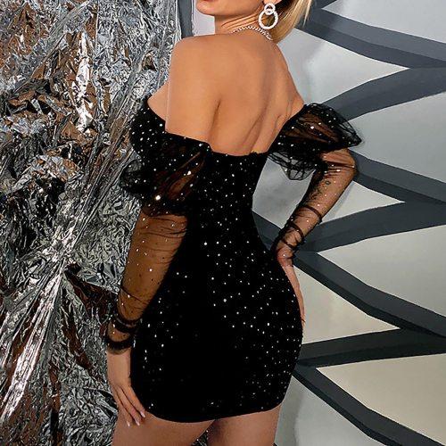 Women's Dress Deep V-neck Summer Fashion 2021 Sheath Sexy Clubwear Chest Wrapped Sequin Backless Nightclub Party Vestidos