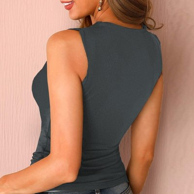 Sexy Sleeveless Hollow Out Women Tops Elegant Solid Base Ladies Shirt Spring Summer Halter Bodycon Slim Streetwear Blouse Blusas