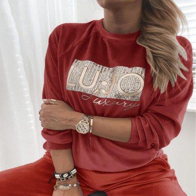 Women Sequin Velvet Blouse Tops Elegant Solid Long Sleeve Letter Lady Shirt Autumn Casual Comfort Warm Pullover Sweatshirt 3XL