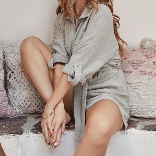Lace Up Solid Gray Cotton Linen Rompers Women Jumpsuit Shorts 2021 Casual Long Sleeve Boho Beach Wear Loose Summer Playsuits