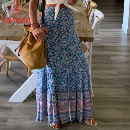 Bohemian Style Women Summer Skirts for Holiday Shrinkage Design Elastic High Waist Flower Print Slim Long Skirts